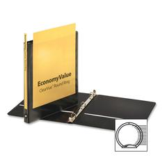 "EconomyValue ClearVue Round Ring Binder - 5/8"" Binder Capacity - Letter - 8 1/2"" x 11"" Sheet Size - 125 Sheet Capacity - 7/8"" Spine Width - 3 x Round Ring Fastener(s) - 2 Inside Front & Back"