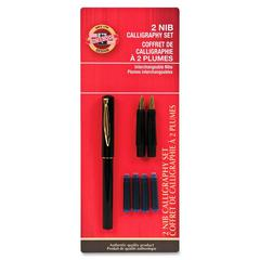 Koh-I-Noor Calligraphy Pen Set - Medium, Broad Pen Point Type - Black, Gold Ink - Black Barrel - 3 / Set