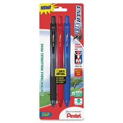 EnerGel-X Retractable Liquid Gel Pen - Medium Point Type - 0.7 mm Point Size - Refillable - Assorted Gel-based Ink - Assorted Barrel - 3 / Pack