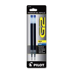 Pilot Rollerball Pen Refill - 1 mm, Bold Point - Blue Ink - Smear Proof - 2 / Pack