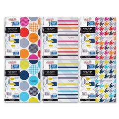 "Mead 1-Subject Notebook - 100 Sheets - Printed - Wire Bound - Letter 8.50"" x 11"" - White Paper - Assorted Cover - Poly Cover - 1Each"