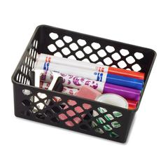 OIC Plastic Supply Basket - Black - Plastic