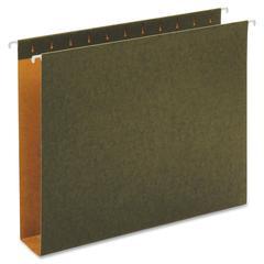"Globe-Weis Green Hanging Box Bottom Folders - 2"" Folder Capacity - Letter - 8.50"" x 11"" Sheet Size - 2"" Expansion - 11 pt. Folder Thickness - Pressboard - Green - Recycled - 25 / Box"
