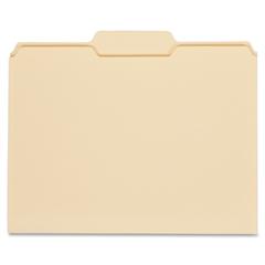 "Globe-Weis Manila File Folders - Letter - 8.50"" x 11"" Sheet Size - 0.75"" Expansion - 1/3 Tab Cut - Center Tab Location - 11 pt. Folder Thickness - Manila - Manila - Recycled - 100 / Box"