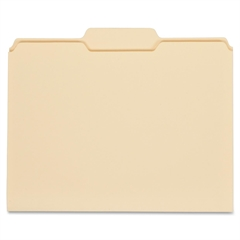 """Globe-Weis Manila File Folders Double Top - Letter - 8.50"""" x 11"""" Sheet Size - 0.75"""" Expansion - 1/3 Tab Cut - Center Tab Location - 11 pt. Folder Thickness - Manila - Manila - Recycled - 100 / Box"""