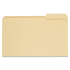 "Manila File Folders - Legal - 8.50"" x 14"" Sheet Size - 0.75"" Expansion - 1/3 Tab Cut - Right Tab Location - 11 pt. Folder Thickness - Manila - Manila - Recycled - 100 / Box"