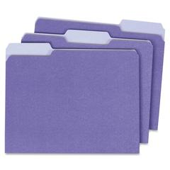 """Globe-Weis Single Top Colored File Folder - Letter - 8.50"""" x 11"""" Sheet Size - 0.75"""" Expansion - 1/3 Tab Cut - Assorted Position Tab Location - 11 pt. Folder Thickness - Card Stock - Lavender - Recycle"""