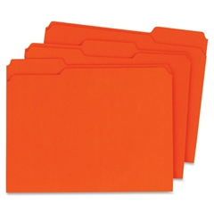"Globe-Weis Double Top Colored File Folder - Letter - 8.50"" x 11"" Sheet Size - 0.75"" Expansion - 1/3 Tab Cut - Assorted Position Tab Location - 11 pt. Folder Thickness - Card Stock - Orange - Recycled"