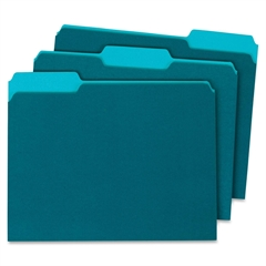 """Globe-Weis Single Top Colored File Folder - Letter - 8.50"""" x 11"""" Sheet Size - 0.75"""" Expansion - 1/3 Tab Cut - Assorted Position Tab Location - 11 pt. Folder Thickness - Card Stock - Teal - Recycled -"""