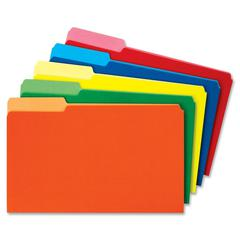 """Globe-Weis Colored File Folder Single Top - Legal - 8.50"""" x 14"""" Sheet Size - 0.75"""" Expansion - 1/3 Tab Cut - Assorted Position Tab Location - 11 pt. Folder Thickness - Assorted - Recycled - 100 / Box"""