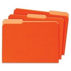 """Globe-Weis Interior Folder - Letter - 8.50"""" x 11"""" Sheet Size - 0.75"""" Expansion - 1/3 Tab Cut - Assorted Position Tab Location - 11 pt. Folder Thickness - Card Stock - Orange - Recycled - 100 / Box"""