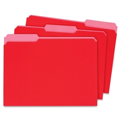 "Globe-Weis Interior Folder - Letter - 8.50"" x 11"" Sheet Size - 0.75"" Expansion - 1/3 Tab Cut - Assorted Position Tab Location - 11 pt. Folder Thickness - Card Stock - Red - Recycled - 100 / Box"