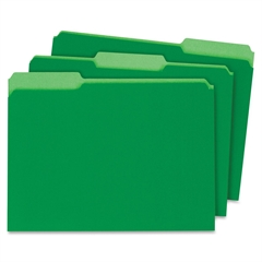 "Globe-Weis Interior Folder - Letter - 8.50"" x 11"" Sheet Size - 0.75"" Expansion - 1/3 Tab Cut - Assorted Position Tab Location - 11 pt. Folder Thickness - Card Stock - Green - Recycled - 100 / Box"