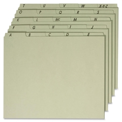 """Globe-Weis A-Z Green Pressboard Self Tab File Guides - Letter - 8.50"""" x 11"""" Sheet Size - 1/5 Tab Cut - Assorted Position Tab Location - 18 pt. Folder Thickness - Pressboard - Green - Recycled - 25 / S"""