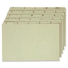 "Globe-Weis A-Z Green Pressboard Self Tab File Guide - Legal - 8.50"" x 14"" Sheet Size - 1/5 Tab Cut - Assorted Position Tab Location - 18 pt. Folder Thickness - Pressboard - Green - Recycled - 25 / Set"