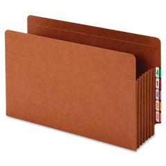 """Globe-Weis End Tab Heavy Duty Pocket - Legal - 8.50"""" x 14"""" Sheet Size - 1600 Sheet Capacity - 7"""" Expansion - 34 pt. Folder Thickness - Redrope - Brown - Recycled - 5 / Box"""