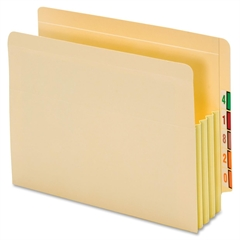 "End Tab Manila File Pockets Tyvek Gusset - Letter - 8.50"" x 11"" Sheet Size - 875 Sheet Capacity - 3.50"" Expansion - 22 pt. Folder Thickness - Manila - Recycled - 10 / Box"