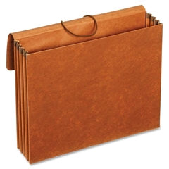 "Globe-Weis Recycled Leather Expanding Wallet - Letter - 9.50"" x 11.75"", 8.50"" x 11"" Sheet Size - 870 Sheet Capacity - 3.50"" Expansion - Brown - Recycled - 1 Each"