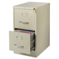 """Commercial-grade Vertical File - 15"""" x 22"""" x 28.4"""" - 2 x Drawer(s) for File - Letter - Lockable, Ball-bearing Suspension - Putty - Recycled"""