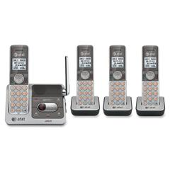 AT&T CL82401 DECT 6.0 Expandable Cordless Phone with Answering System and Caller ID/Call Waiting, Silver, 4 Handsets - Cordless - 1 x Phone Line - 4 x Handset - Speakerphone - Answering Machine - Back