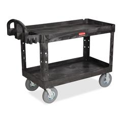 "Rubbermaid Large Utility Cart with Lipped Shelf - 2 Shelf - 750 lb Capacity - 4 Casters - 5"" Caster Size - Resin - 55"" Length x 26"" Width x 33.3"" Height - Black"