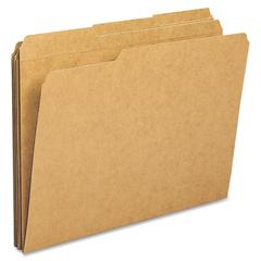 "Top Tab File Folder - Letter - 8 1/2"" x 11"" Sheet Size - 1/3 Tab Cut - Assorted Position Tab Location - 11 pt. Folder Thickness - Kraft - Kraft - Recycled - 100 / Box"
