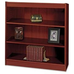 """Square-Edge Bookcase - 36"""" x 12"""" x 36.8"""" - 3 x Shelf(ves) - 300 lb Load Capacity - Mahogany - Veneer - Particleboard, Wood - Recycled - Assembly Required"""