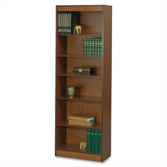 "Safco Baby Bookcase - 24"" x 12"" x 72"" - 6 x Shelf(ves) - 600 lb Load Capacity - Cherry - Veneer - Particleboard, Wood - Recycled - Assembly Required"