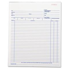 "Business Source All-Purpose Forms Book - 50 Sheet(s) - 2 Part - Carbonless Copy - 10.25"" x 8.38"" Sheet Size - 1 Each"
