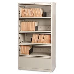 "Lorell Receding Lateral File with Roll Out Shelves - 36"" x 18.6"" x 68.8"" - 5 x Drawer(s) for File - A4, Legal, Letter - Ball-bearing Suspension, Recessed Handle, Leveling Glide, Heavy Duty, Interlocki"