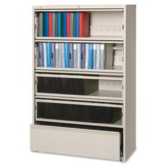 "Lorell Receding Lateral File with Roll Out Shelves - 42"" x 18.6"" x 68.8"" - 5 x Drawer(s) for File - Legal, Letter, A4 - Recessed Handle, Ball-bearing Suspension, Leveling Glide, Heavy Duty, Interlocki"