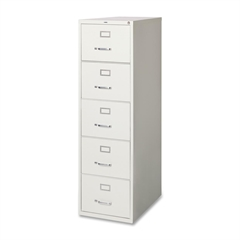 "Lorell Commercial Grade Vertical File Cabinet - 18"" x 26.5"" x 61"" - 5 x Drawer(s) for File - Legal - Vertical - Security Lock, Heavy Duty, Ball-bearing Suspension - Light Gray - Steel - Recycled"