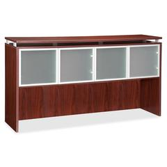 "Lorell Ascent Hutch - 66.1"" x 14.8"" x 38.6"" - 4 x Door(s) - 44 lb Load Capacity - Scratch Resistant, Stain Resistant, Grommet, Durable - Mahogany - Laminate - Glass, Polyvinyl Chloride (PVC), Aluminum"