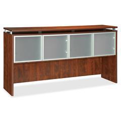 "Lorell Ascent Hutch - 66.1"" x 14.8"" x 38.6"" - 4 x Door(s) - 44 lb Load Capacity - Durable, Scratch Resistant, Grommet, Stain Resistant - Cherry - Laminate - Polyvinyl Chloride (PVC), Aluminum, Glass -"
