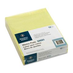 "Business Source Glued Top Ruled Memo Pads - 50 Sheets - Glue - 16 lb Basis Weight - Letter 8.50"" x 11"" - Canary Paper - 1Dozen"