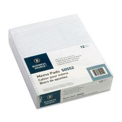 "Business Source Glued Top Ruled Memo Pads - 50 Sheets - Glue - 16 lb Basis Weight - Letter 8.50"" x 11"" - White Paper - 1Dozen"