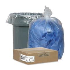 "Nature Saver Recycled Trash Can Liners - Medium Size - 33 gal - 33"" Width x 39"" Length x 1.25 mil (32 Micron) Thickness - Low Density - Clear - 100/Carton - Pilferage Control"
