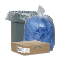 "Nature Saver Recycled Trash Can Liners - Large Size - 45 gal - 40"" Width x 46"" Length x 1.50 mil (38 Micron) Thickness - Low Density - Clear - 100/Carton - Pilferage Control"