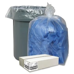 "Clear Recycled Trash Can Liner - Extra Large Size - 60 gal - 38"" Width x 58"" Length x 1.50 mil (38 Micron) Thickness - Low Density - Clear - 100/Carton - Pilferage Control"