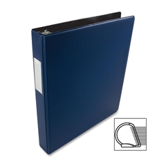 """Business Source Slanted D-Ring Binder - 1"""" Binder Capacity - 3 x D-Ring Fastener(s) - 2 Internal Pocket(s) - Chipboard, Polypropylene - Blue - 1 Each"""