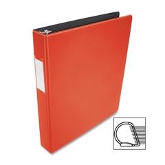 "Business Source Slanted D-ring Binders - 1"" Binder Capacity - 3 x D-Ring Fastener(s) - 2 Internal Pocket(s) - Chipboard, Polypropylene - Red - 1 Each"