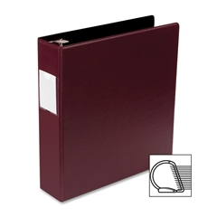 "Business Source Slanted D-Ring Binder - 2"" Binder Capacity - 3 x D-Ring Fastener(s) - 2 Internal Pocket(s) - Chipboard, Polypropylene - Burgundy - 1 Each"