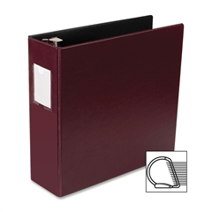 "Business Source Slanted D-ring Binders - 3"" Binder Capacity - 3 x D-Ring Fastener(s) - 2 Internal Pocket(s) - Chipboard, Polypropylene - Burgundy - 1 Each"