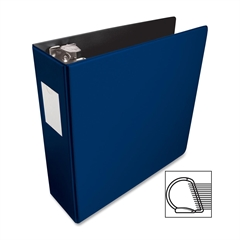 "Business Source Slanted D-Ring Binder - 3"" Binder Capacity - 3 x D-Ring Fastener(s) - 2 Internal Pocket(s) - Chipboard, Polypropylene - Blue - 1 Each"