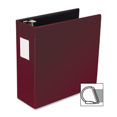 "Slanted D-Ring Binder - 4"" Binder Capacity - 3 x D-Ring Fastener(s) - 2 Internal Pocket(s) - Chipboard, Polypropylene - Burgundy - 1 Each"