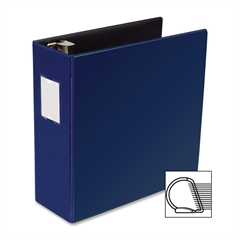"Slanted D-Ring Binder - 4"" Binder Capacity - 3 x D-Ring Fastener(s) - 2 Internal Pocket(s) - Chipboard, Polypropylene - Blue - 1 Each"