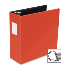 "Business Source Slanted D-Ring Binder - 4"" Binder Capacity - 3 x D-Ring Fastener(s) - 2 Internal Pocket(s) - Chipboard, Polypropylene - Red - 1 Each"