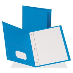 "Business Source Two Pocket Folder - Letter - 8 1/2"" x 11"" Sheet Size - 100 Sheet Capacity - 3 x Prong Fastener(s) - 1/2"" Fastener Capacity - 2 Inside Front & Back Pocket(s) - Leatherette - Light Blue"