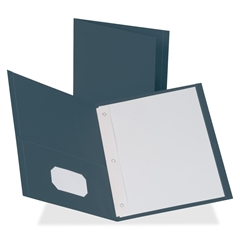 "Business Source Two Pocket Folder - Letter - 8 1/2"" x 11"" Sheet Size - 100 Sheet Capacity - 3 x Prong Fastener(s) - 1/2"" Fastener Capacity - 2 Inside Front & Back Pocket(s) - Leatherette - Dark Blue -"