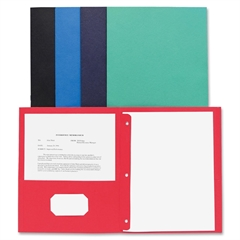 "Business Source Two Pocket Folder - Letter - 8 1/2"" x 11"" Sheet Size - 100 Sheet Capacity - 3 x Prong Fastener(s) - 2 Inside Front & Back Pocket(s) - Leatherette - Assorted - Recycled - 25 / Box"